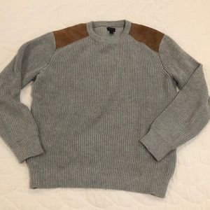 J.Crew Gray Men's sweater with suede details